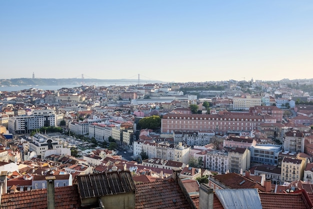 Aerial photo of lisbon covered in buildings, portugal Free Photo