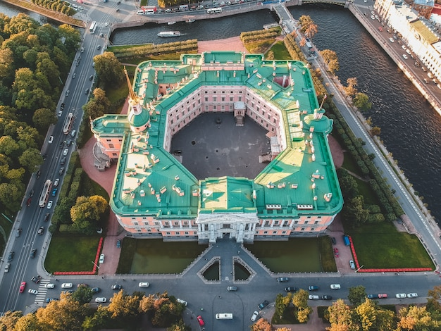 Aerial photo of the mikhailovsky castle, the palace of engineering. russia, st. petersburg. setting sun