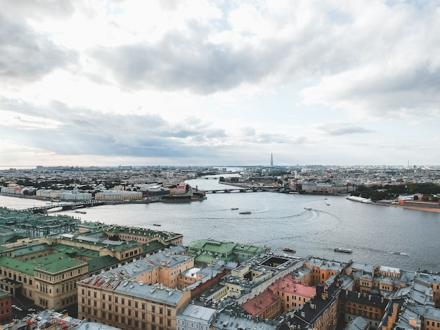 Aerial photo of the neva river, the center of st. petersburg, roofs, river boat7. russia