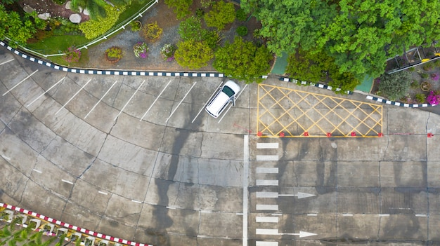Aerial photo top view over pedestrian crossing on traffic road