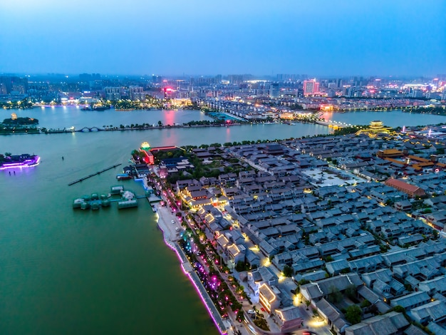 Aerial photograph of dongchang ancient city in liaocheng, shandong province