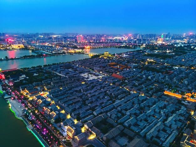 Аэрофотоснимок древнего города дунчан в ляочэн, провинция шаньдун