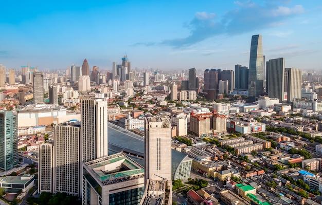 天津金融センターの建築景観のスカイラインの航空写真
