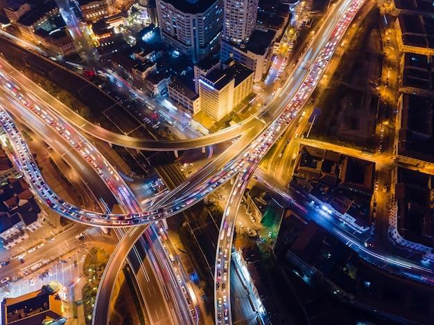 Aerial photograph of urban night scene overpass