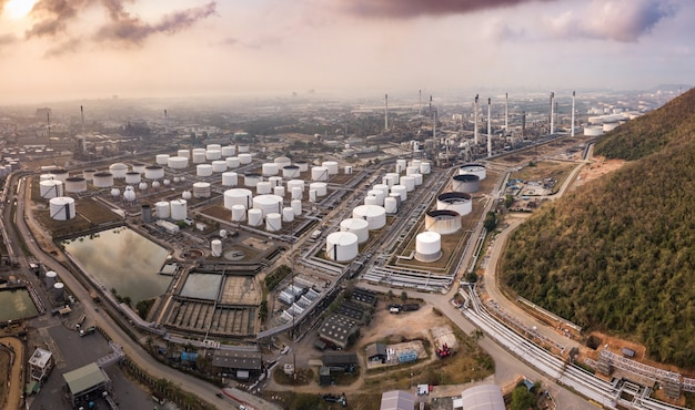 Aerial photographs of oil refineries plants, gas tank, oil tank storage.