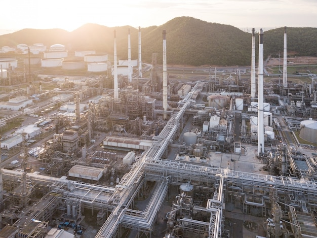 Aerial photographs of oil refineries plants, gas tank, oil tank.
