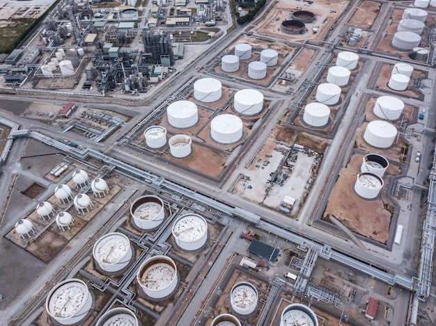 Aerial photographs of oil refineries plants