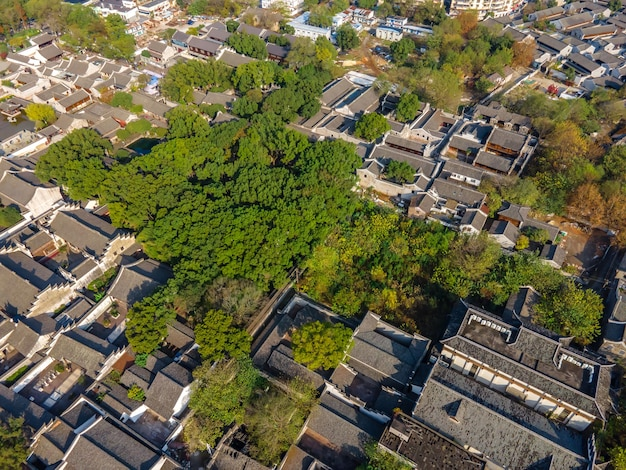 Aerial photography of the ancient buildings of tianyi pavilion, ningbo