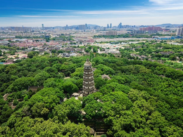 Aerial photography of ancient buildings at tiger hill tower a famous scenic spot in suzhou