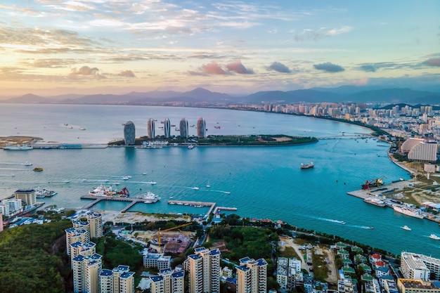Aerial photography of the beautiful coastline of sanya