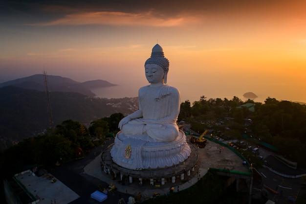 Aerial photography of big buddha in phuket island , big buddha is the one of landmarks in phuket thailand.