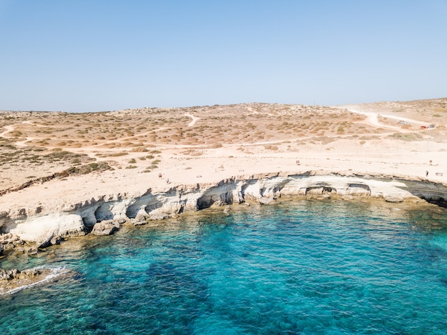 Aerial photography cape cavo greco. bright sky and crystal water. . mediterranean sea. cyprus 2020