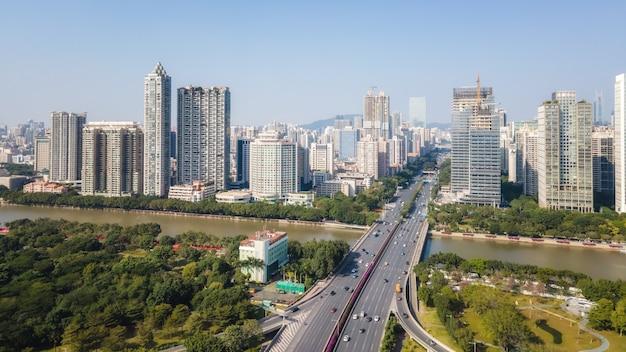 항공 사진 중국 광저우 현대 도시 건축 풍경 스카이 라인
