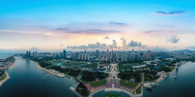 航空写真中国日照市の建築風景の海岸線