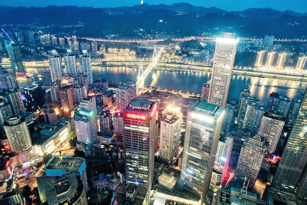 Aerial photography chongqing city architecture skyline