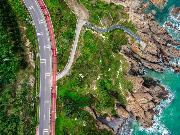 空中写真海岸線島道