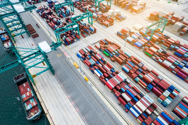 Aerial photography of container terminal