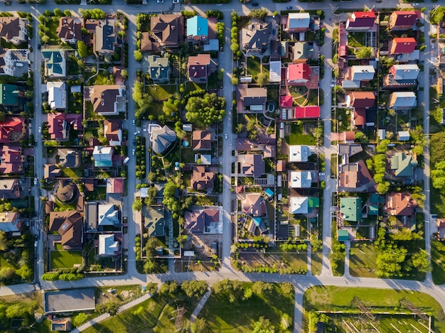 Aerial photography of a a cottage village with colorful houses