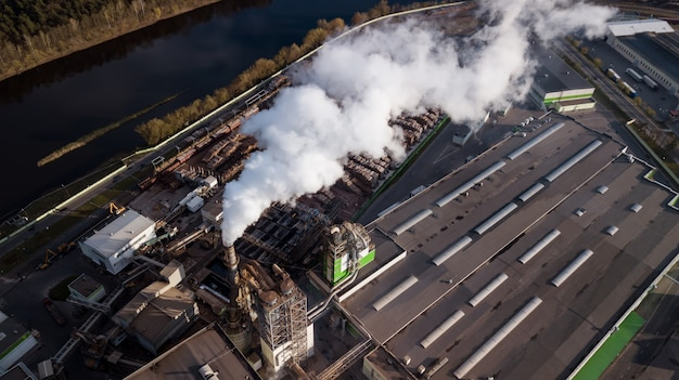 Aerial photography factory for processing wood. the smoke from the chimneys.