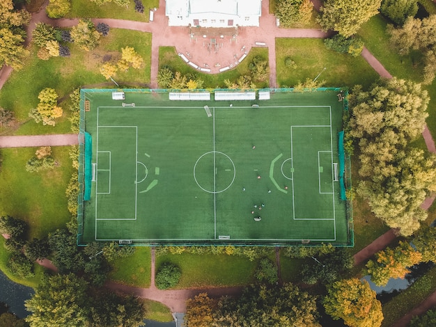 Aerial photography of a football field in the park, city center, flatley, st. petersburg, russia.