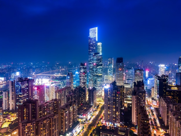 Aerial photography guangzhou cbd architectural landscape skyline twilight