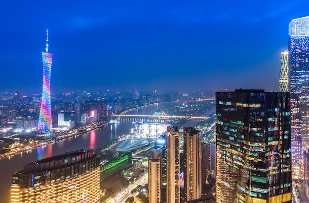 Aerial photography of guangzhou city architecture night view