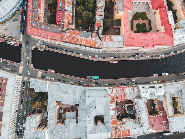 Aerial photography of the historic city center, rooftops, st. petersburg, russia.