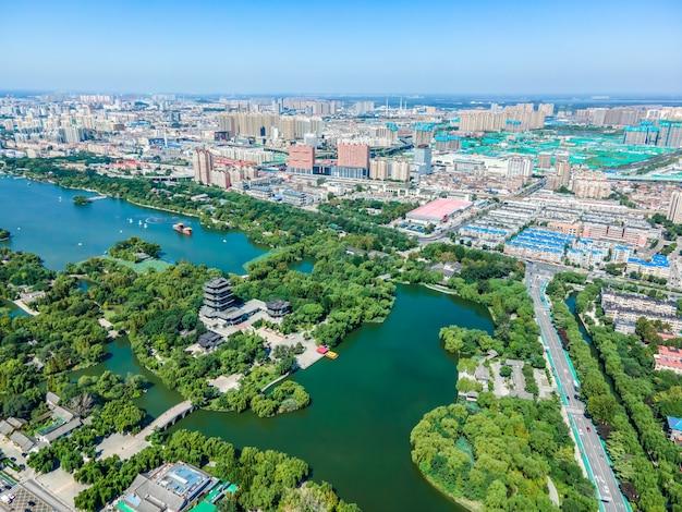 Aerial photography of jinan daming lake park