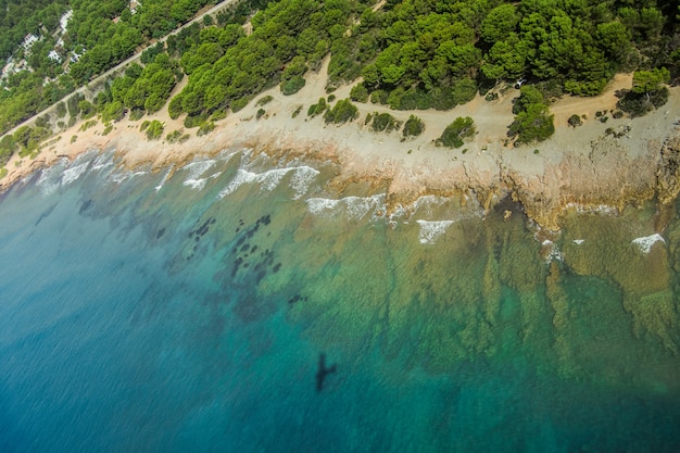 Aerial photography of the mediterranean coastline in spain