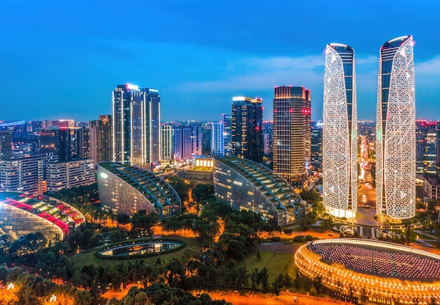 Aerial photography of the modern building skyline night view of chengdu financial center