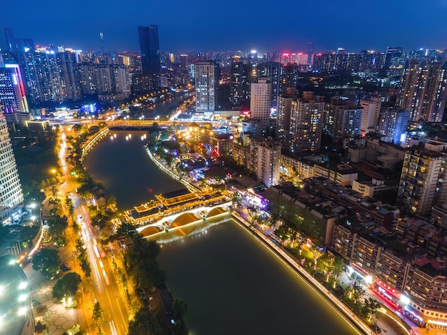 Aerial photography of modern buildings in chengdu city center at night