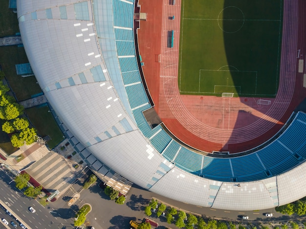 Aerial photography of modern stadium buildings