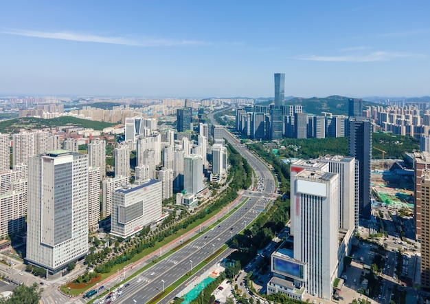 Aerial photography of modern urban architectural landscape of jinan, china