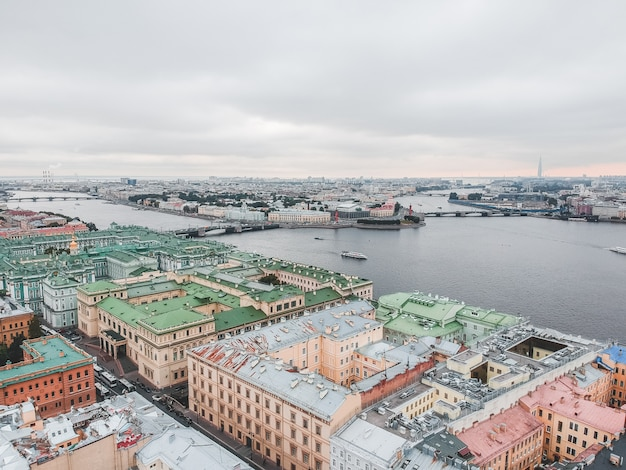 Aerial photography of the moika river, city center, historical residential development, st. petersburg, russia.