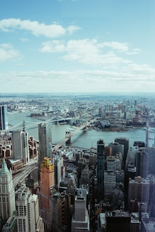Aerial photography of new york and brooklyn bridge