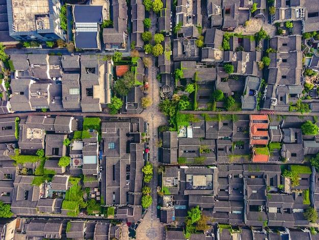 난징 라 오멘 동 고대 건물의 항공 사진