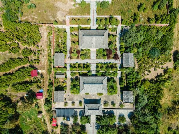 中国新泰市朝陽洞の航空写真