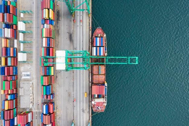 コンテナターミナルの航空写真