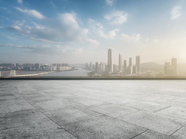 중국 주하이의 현대 도시 건축 풍경의 항공 사진