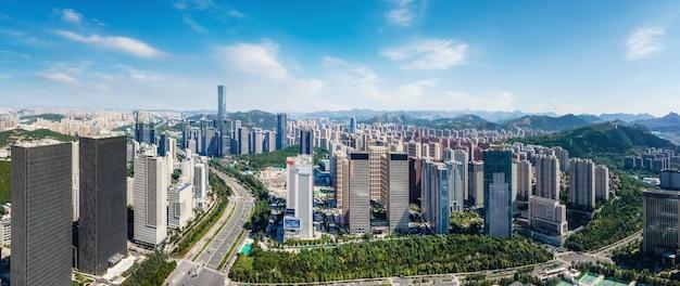 중국 지난의 현대 도시 건축 풍경의 항공 사진