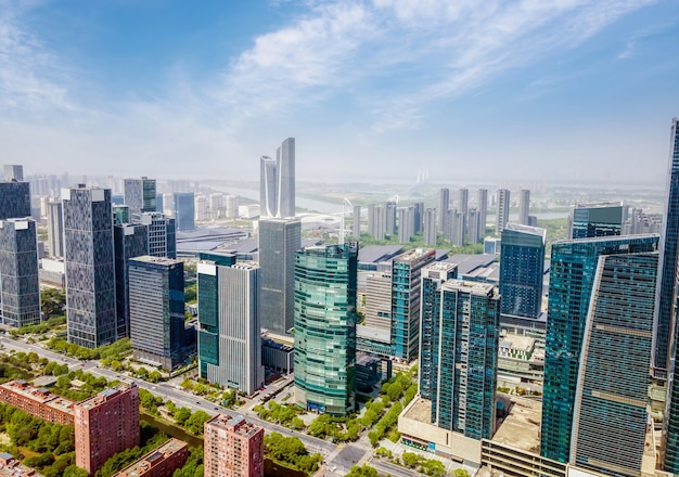 Аэрофотосъемка архитектурного пейзажа центрального делового района хэси в нанкине.