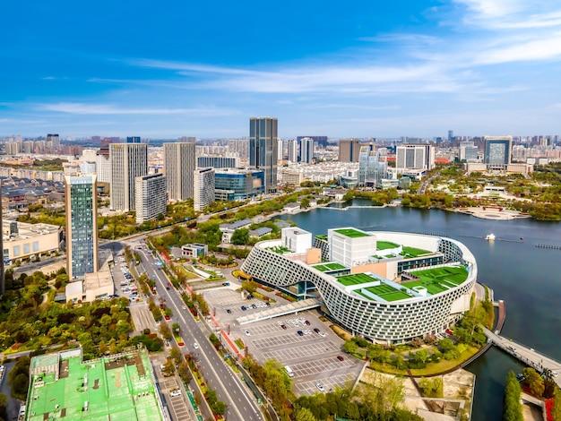 中国、塩城の建築景観の航空写真