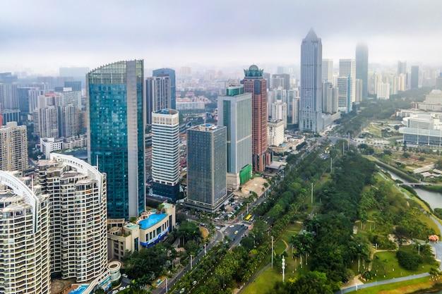중국 하이커 우 건축 풍경의 항공 사진