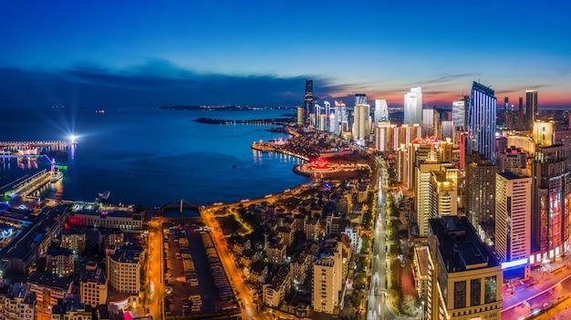 중국 청도 도시 건축 경관 야경 항공 촬영