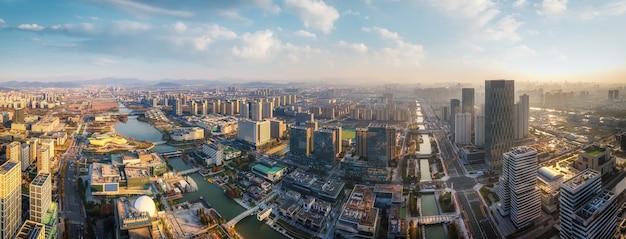 浙江省寧波の都市建築スカイラインの航空写真