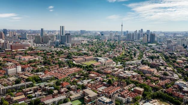 天津の都市建築景観の航空写真