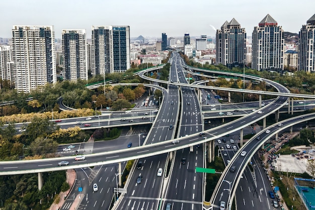 Aerial photography overpasses in modern chinese cities