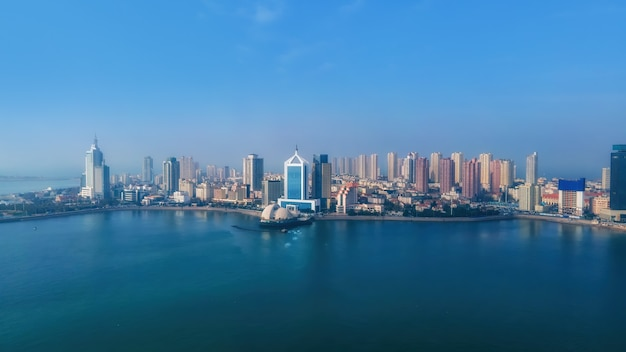 Aerial photography qingdao bay city architecture landscape skyline panorama
