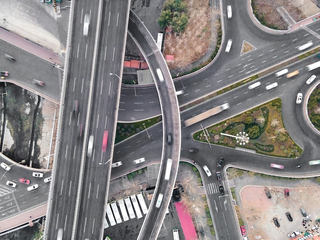 Aerial photography of qingdao city road overpass