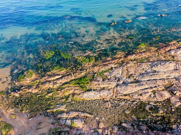 Aerial photography of qingdao coastline, sea, islands and reefs